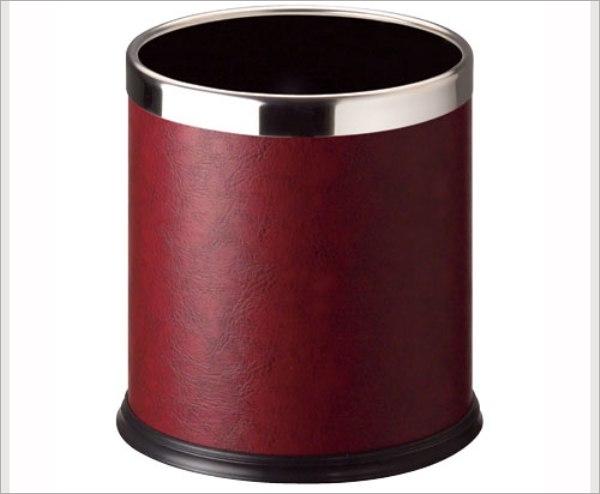 产品介绍 - - 酒红色皮圆形双层垃圾桶/c-45s-23